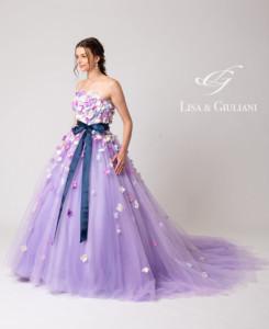 リサ アンド ジュリアーニ ウェディングドレス ラベンダーフラワー